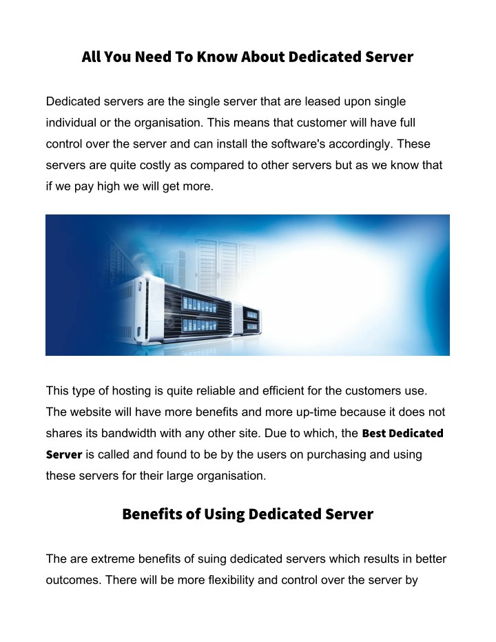 all you need to know about dedicated server n.