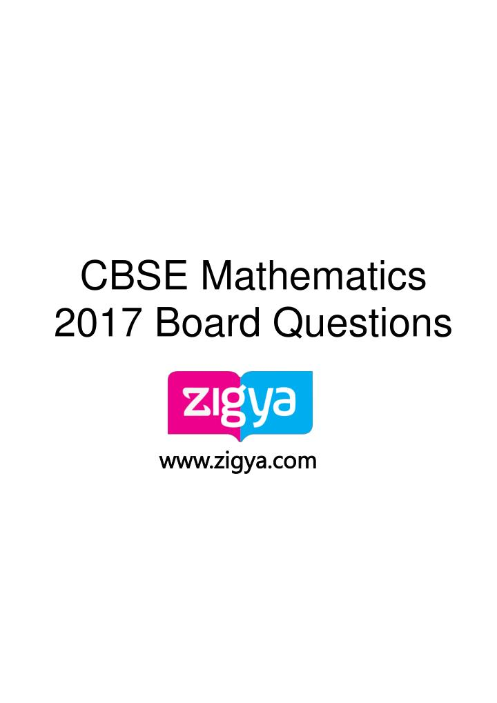 cbse mathematics 2017 board questions n.