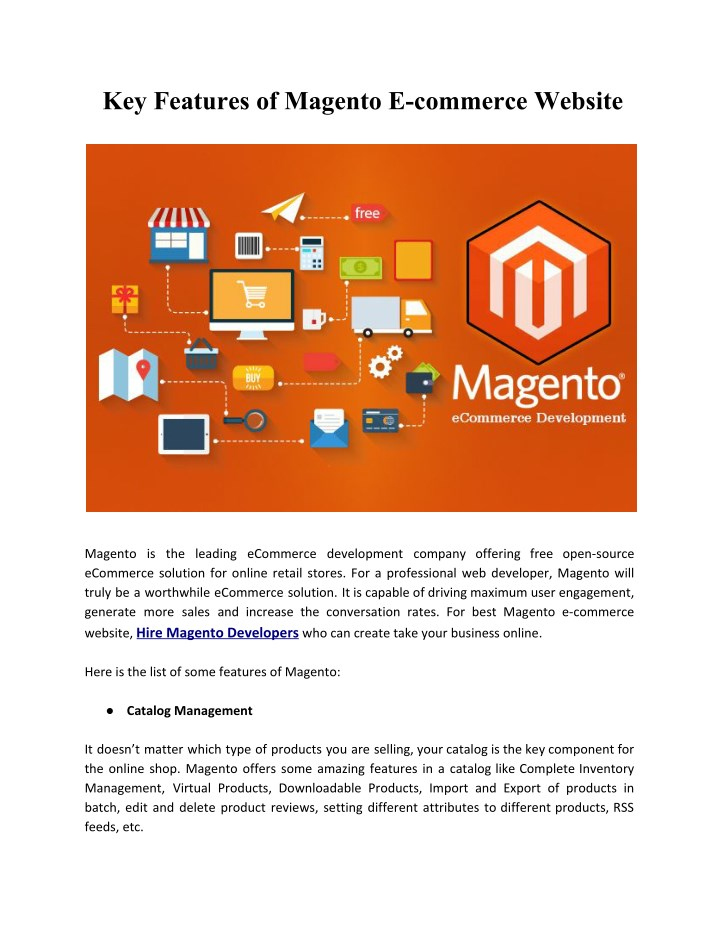 key features of magento e commerce website n.