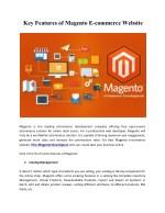 key features of magento e commerce website