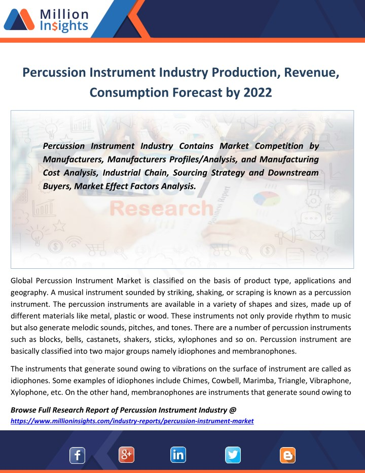 percussion instrument industry production revenue n.