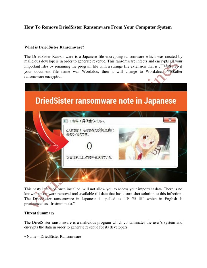 how to remove driedsister ransomware from your n.