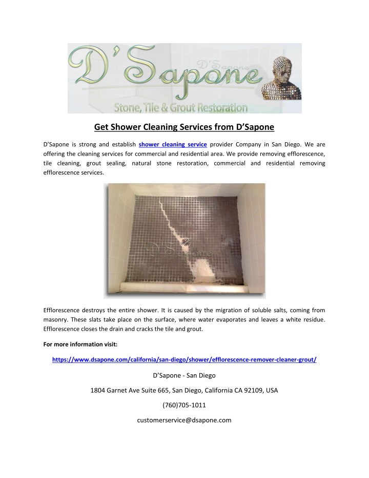 get shower cleaning services from d sapone n.