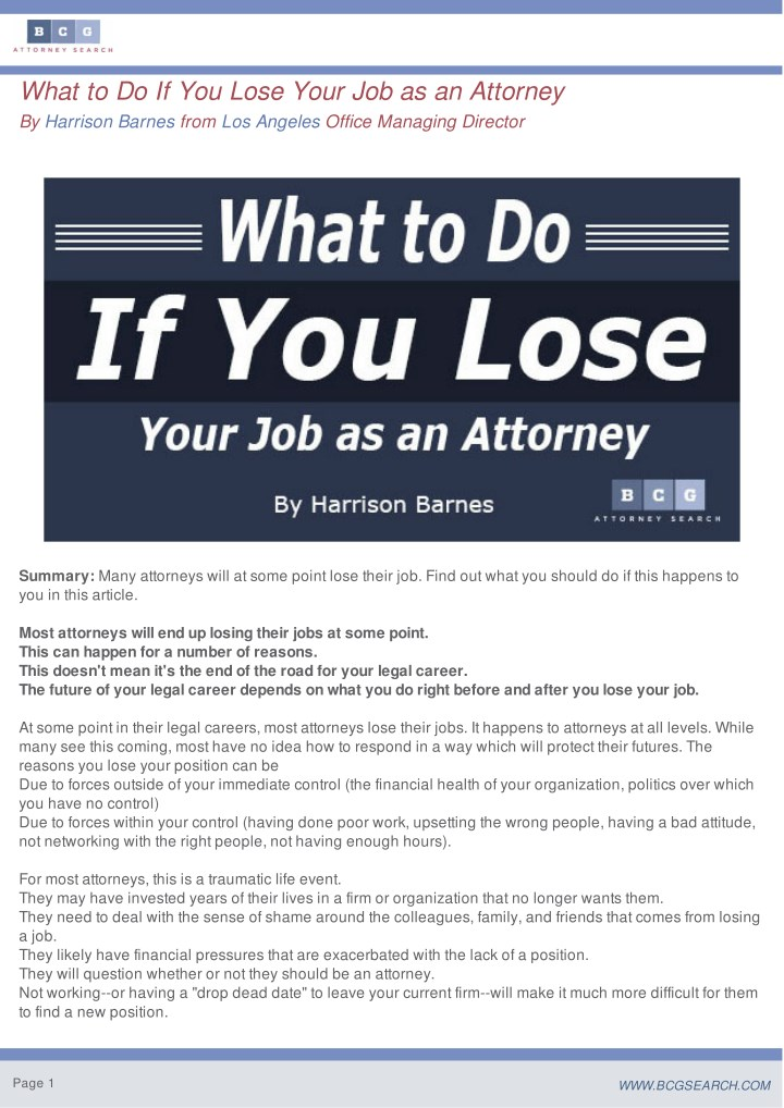 what to do if you lose your job as an attorney n.