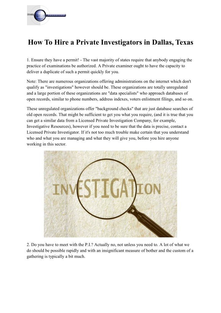 how to hire a private investigators in dallas n.