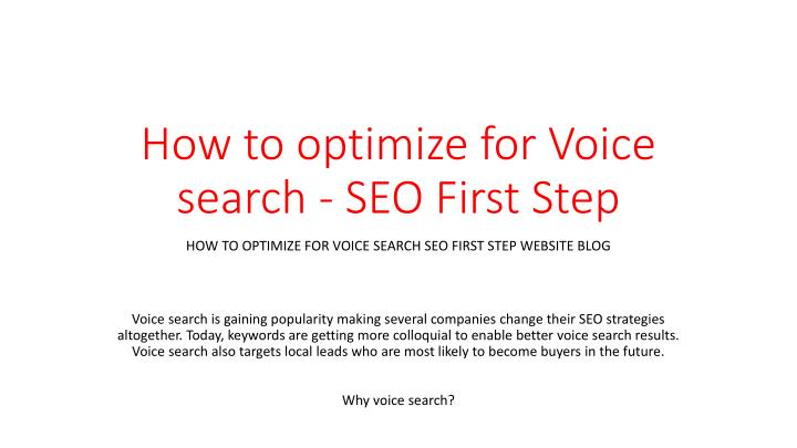 how to optimize for voice search seo first step n.