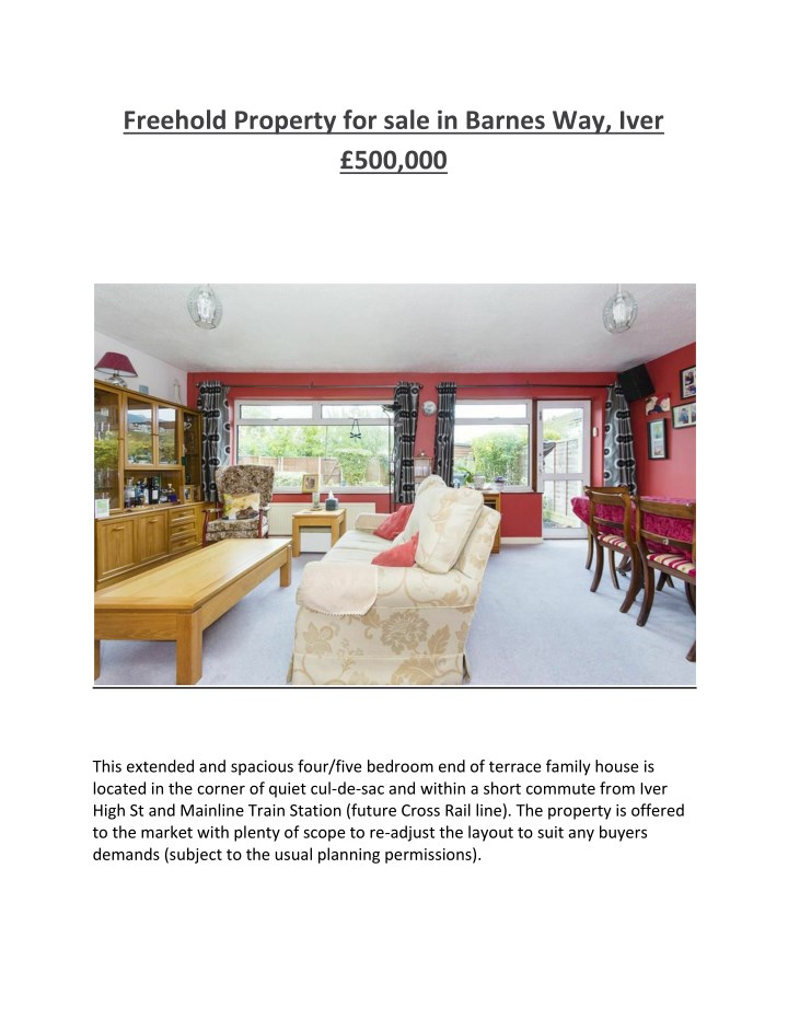 freehold property for sale in barnes way iver n.