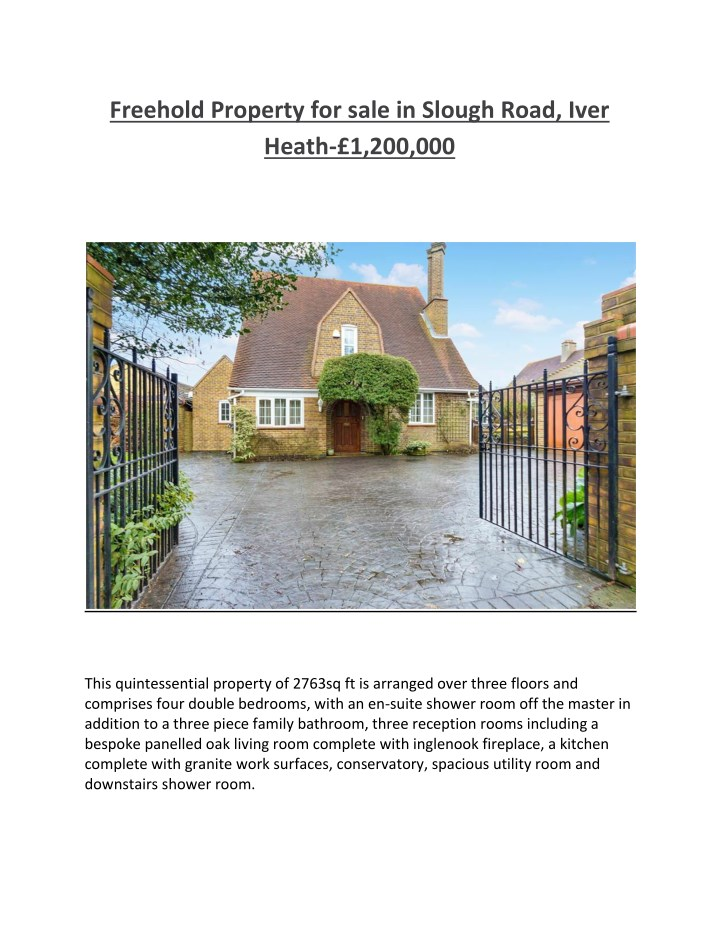 freehold property for sale in slough road iver n.