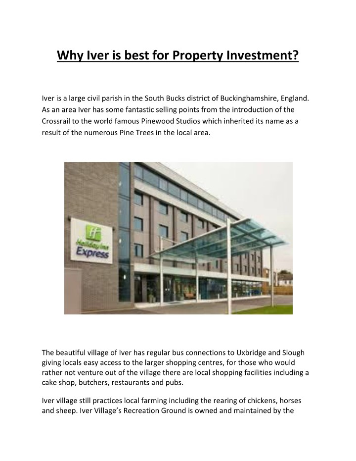 why iver is best for property investment n.