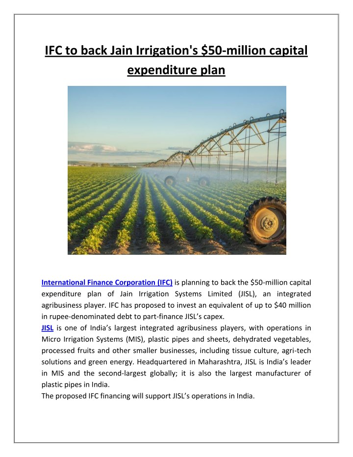 ifc to back jain irrigation s 50 million capital n.
