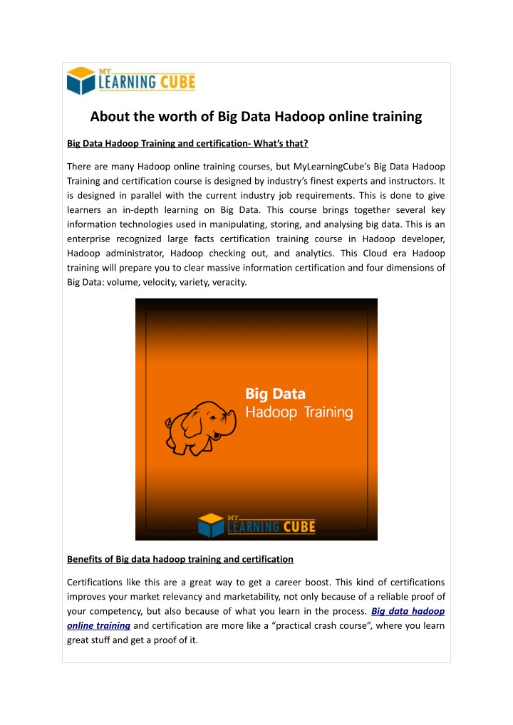about the worth of big data hadoop online training n.