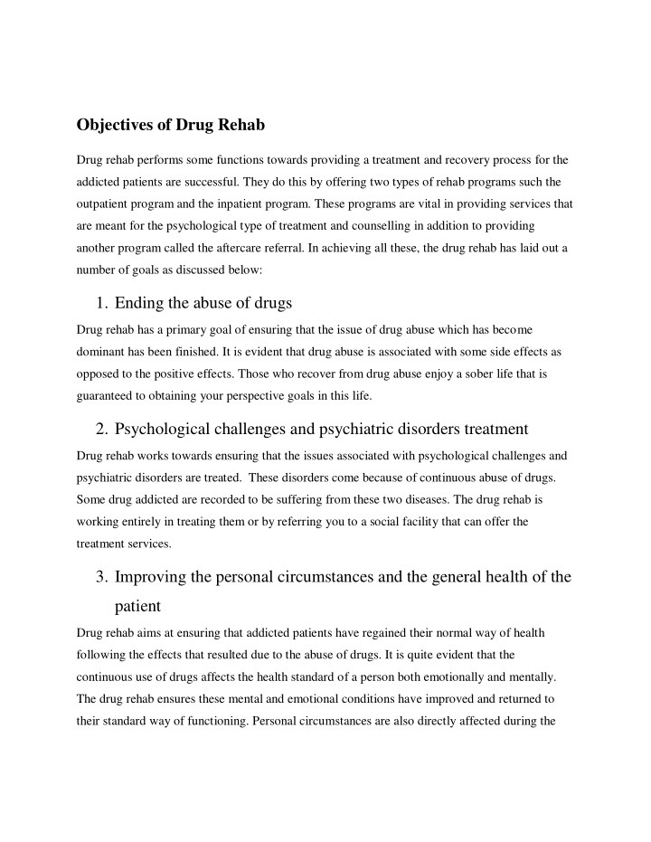 objectives of drug rehab n.