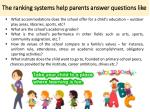 the ranking systems help parents answer questions like
