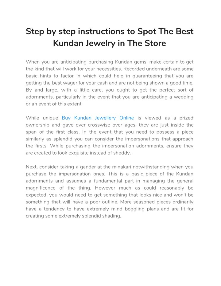 step by step instructions to spot the best kundan n.