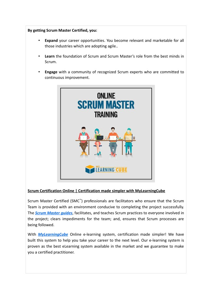 Ppt Online Scrum Master Certification Training Courses At