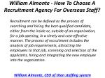 william almonte how to choose a recruitment agency for overseas staff 1