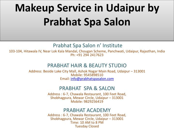 makeup service in udaipur by prabhat spa salon n.