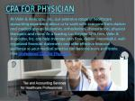 cpa for physician