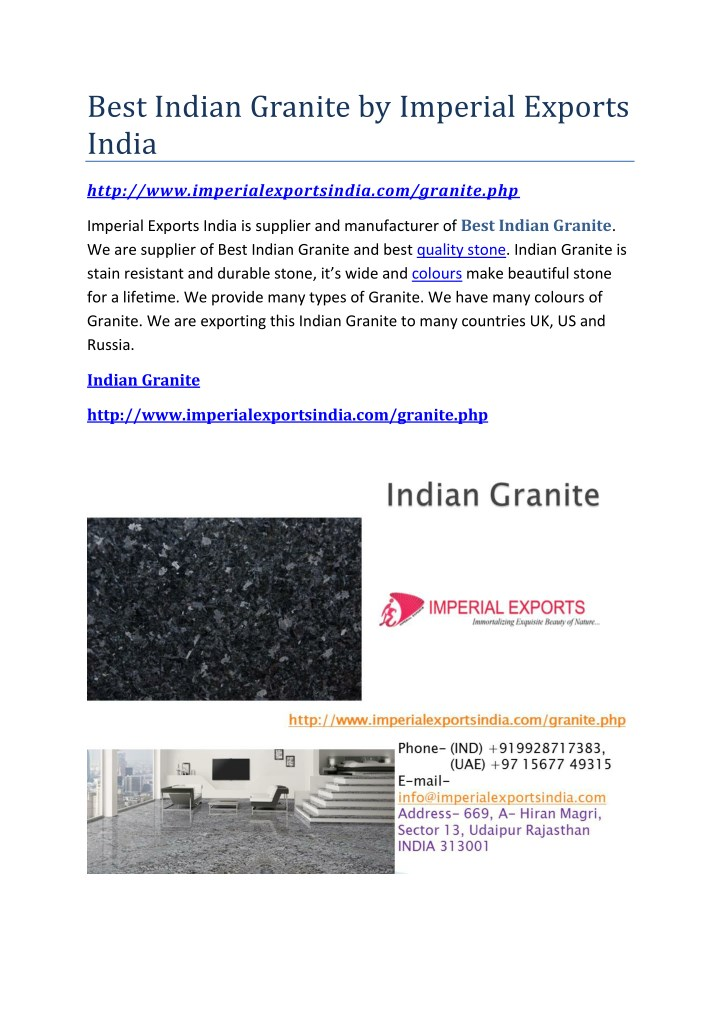 best indian granite by imperial exports india n.