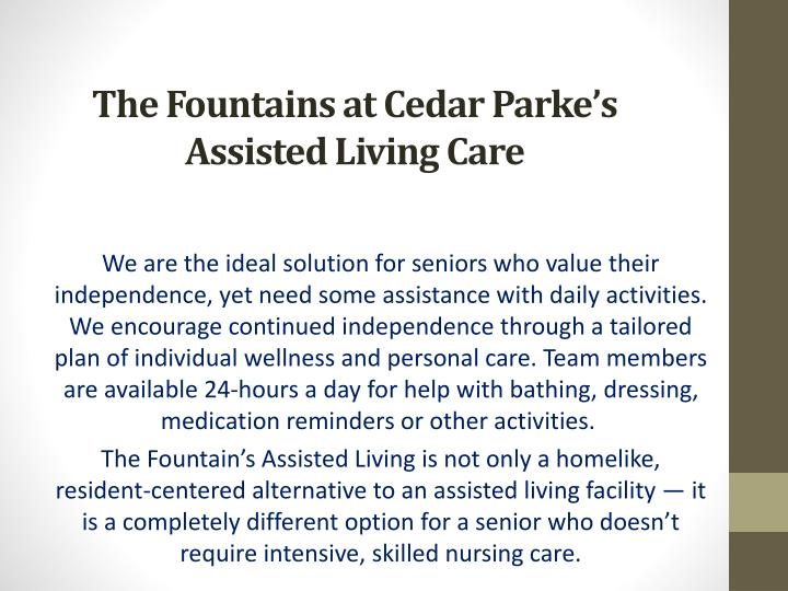 the fountains at cedar parke s assisted living care n.