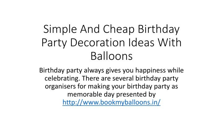 simple and cheap birthday party decoration ideas with balloons n.