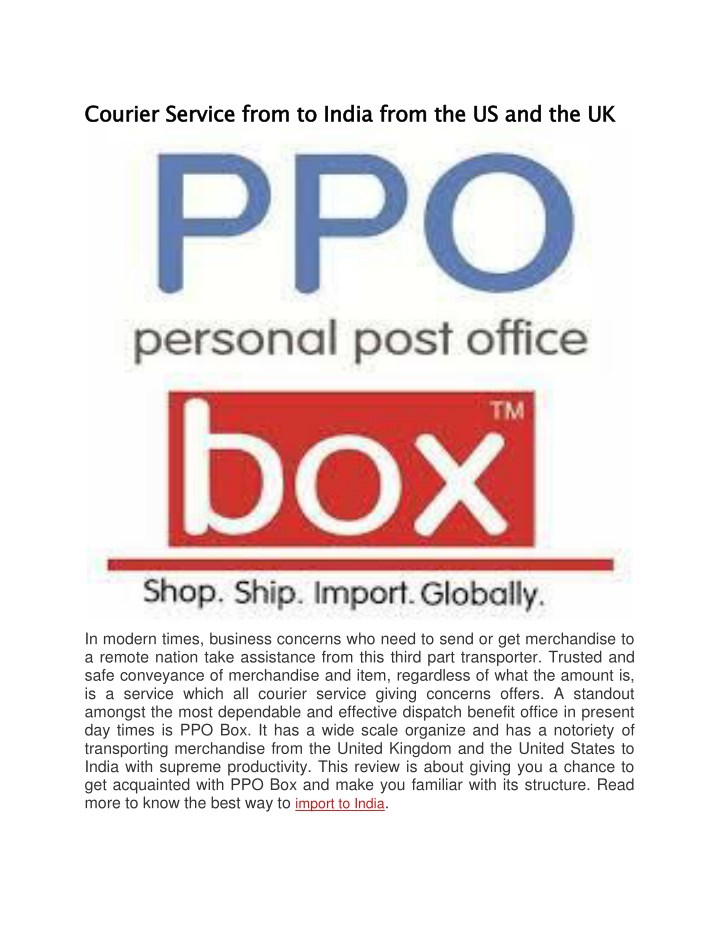 courier service from to india from n.
