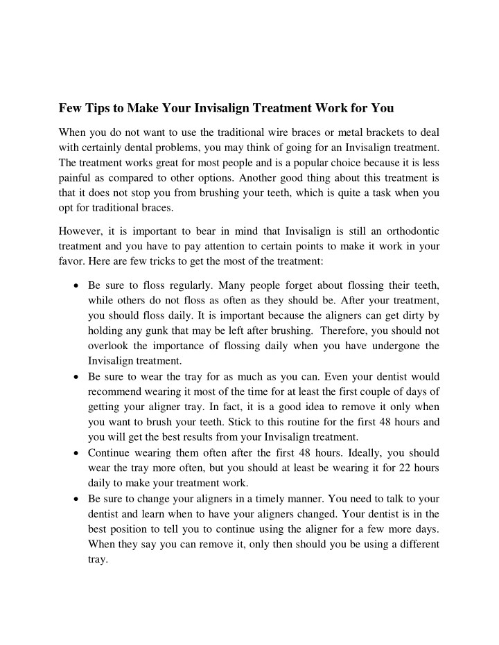 few tips to make your invisalign treatment work n.