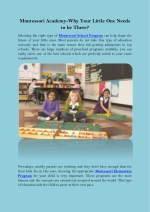 montessori academy why your little one needs