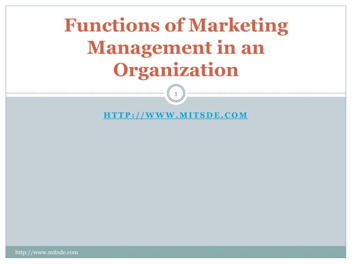 functions of marketing management in an organization n.