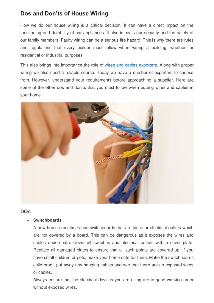 dos and don ts of house wiring n.