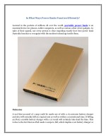 in what ways power banks function efficiently