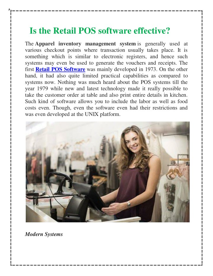 is the retail pos software effective the apparel n.