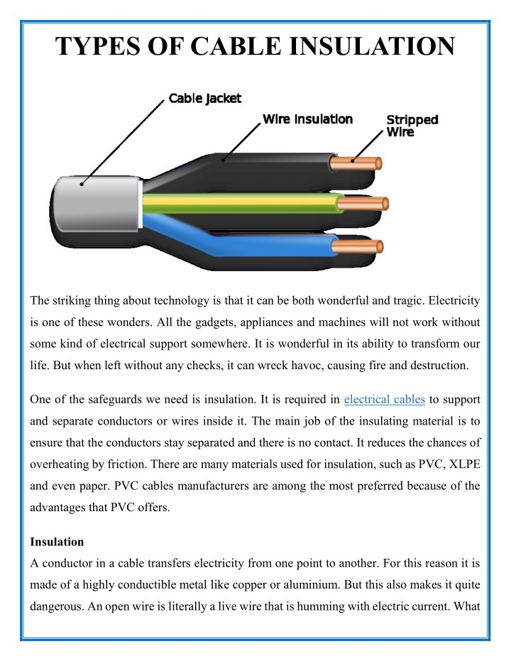 types of cable insulation n.