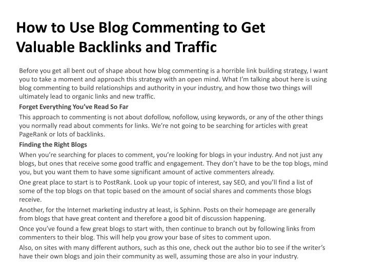 how to use blog commenting to get valuable backlinks and traffic n.