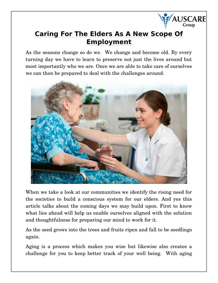 caring for the elders as a new scope of employment n.