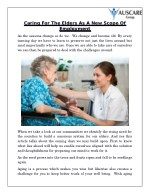 caring for the elders as a new scope of employment