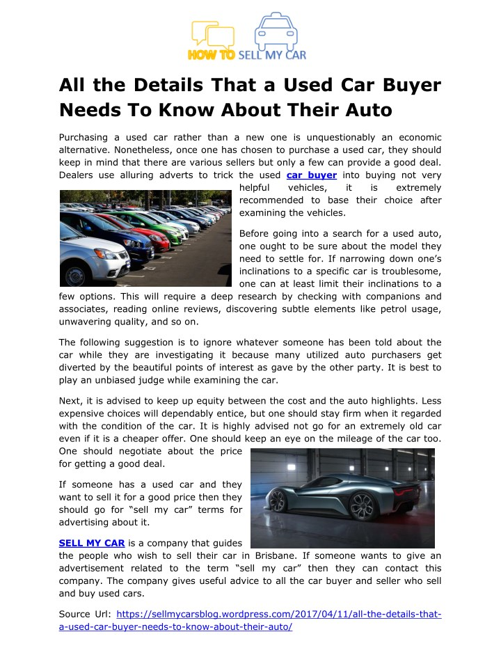all the details that a used car buyer needs n.