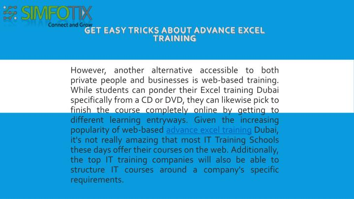 get easy tricks about advance excel training n.