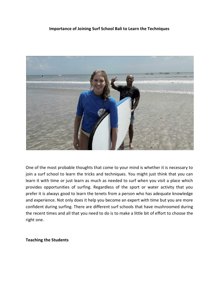 importance of joining surf school bali to learn n.