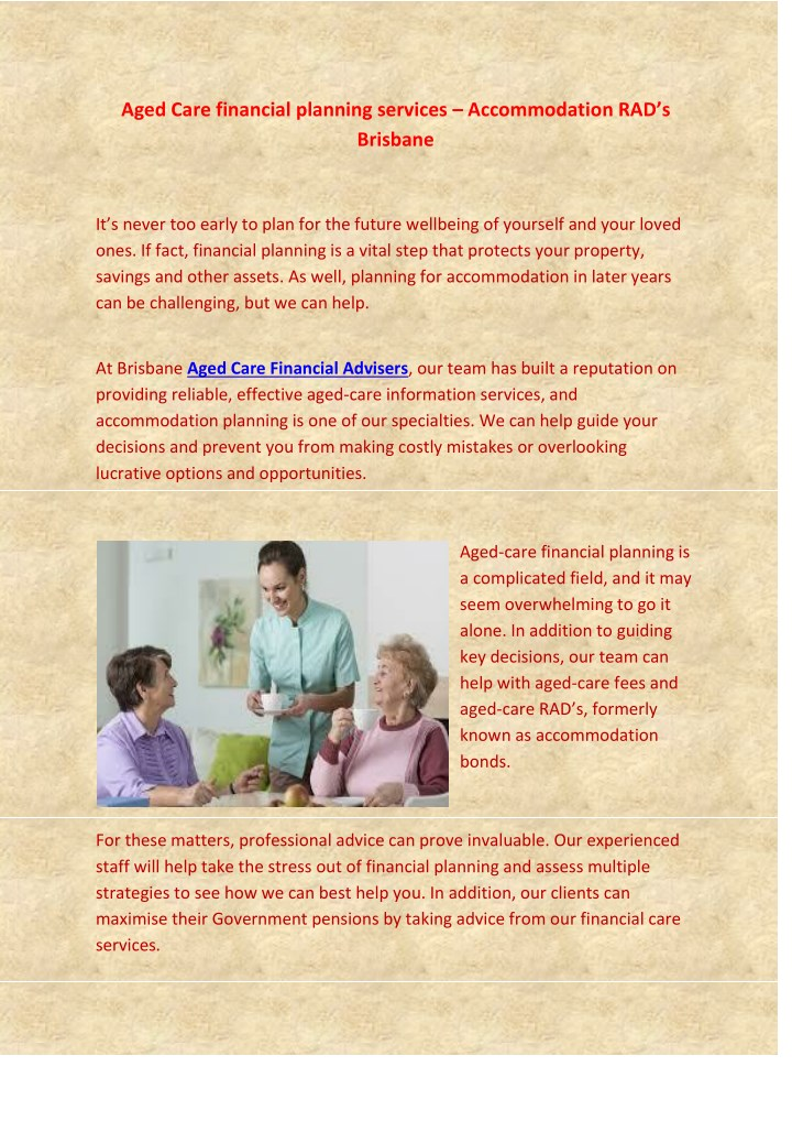aged care financial planning services n.