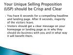 your unique selling proposition usp should be crisp and clear