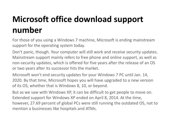 microsoft office download support number n.