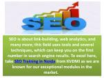 seo is about link building web analytics and many