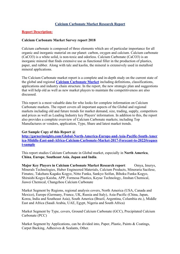 calcium carbonate market research report n.