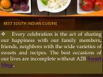 best south indian cuisine
