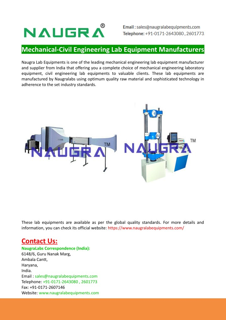 mechanical civil engineering lab equipment n.