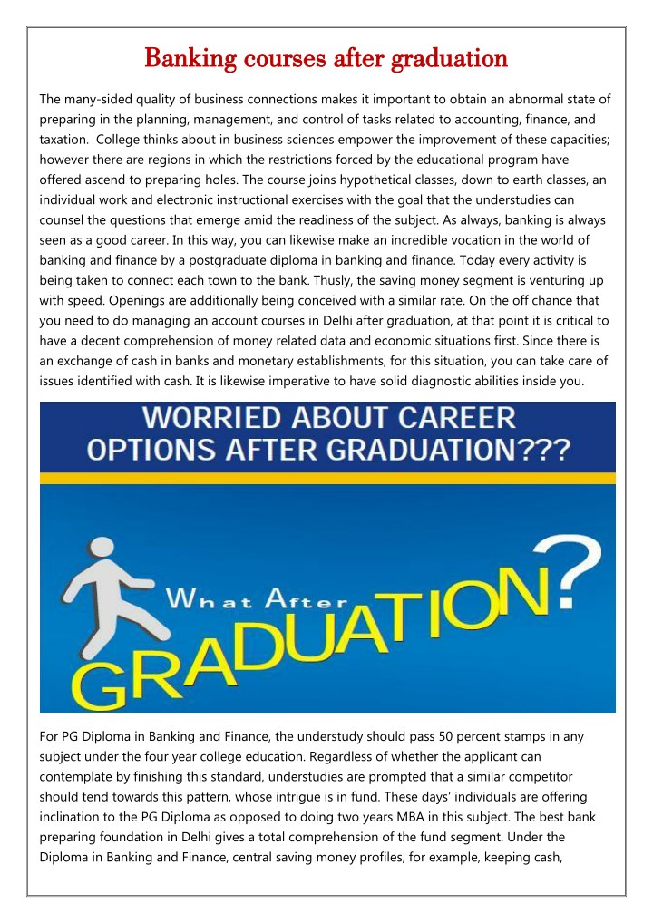 banking courses after graduation banking courses n.