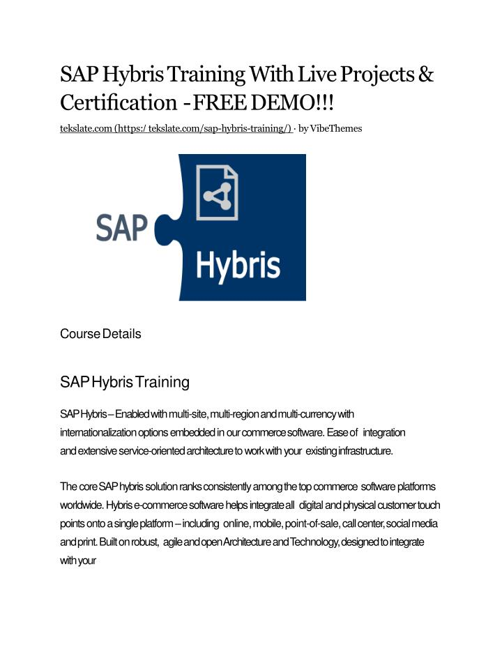 sap hybris training with live projects certi cation free demo n.