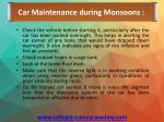 car maintenance during monsoons