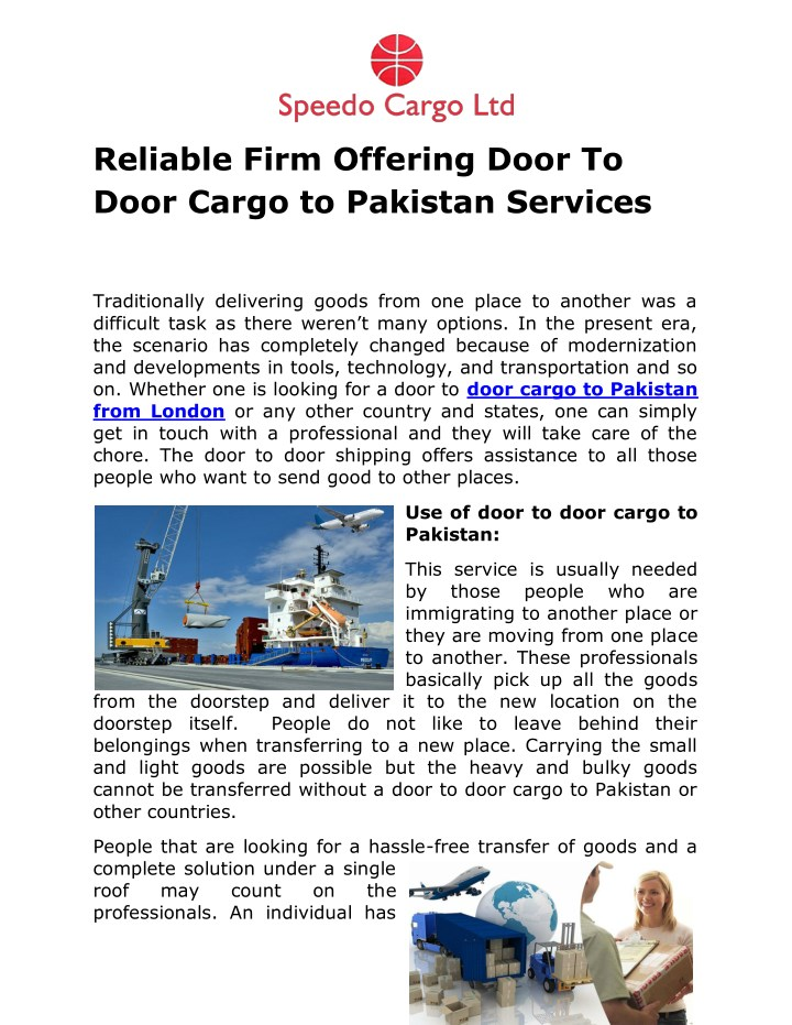reliable firm offering door to door cargo n.
